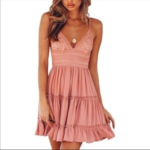 Summer Dress - Lacey V-neck & Bowknot backless